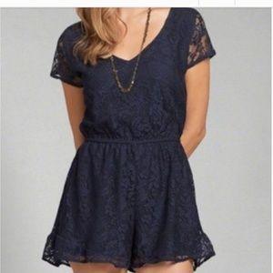 Abercrombie & Fitch dark blue lace Romper dress l
